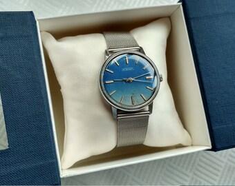 Raketa Soviet Watch, mechanical watch, jeans blue dial, blue watch, USSR watch