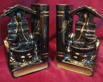 """Unique Vintage 1960 Porcelain Redware WISHING WELL BOOKEND & Pen Holder 5"""" Pair Black and Gold Hand Painted Japan Library Desk Accessory 573"""