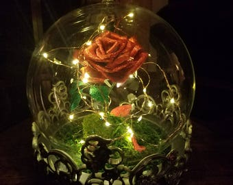 Enchanted Domed Rose/LED Handmade Metallic Crepe Paper Rose/Fairy Lights Glass Cloche/Fairy Lamp/Apotechary