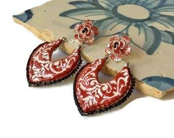 Ceramic Portugueses tile earrings, clay earrings, ceramic jewelry, Portugal, Portuguese tiles, red black earrings, handmade earring, azulejo