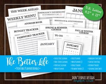 The Better Life Bundle - Rustic Printable Organizing Bundle - Planner, Menu Planner, Password Tracker - Instant Download