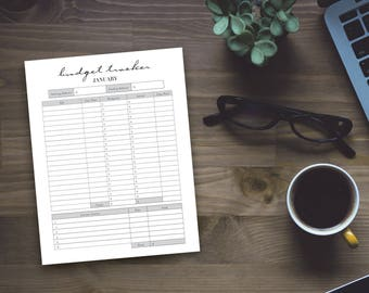 Printable Budget Tracker - Whimsical Monthly Home Budget Sheet - Personal Budget Tracker - Instant Download