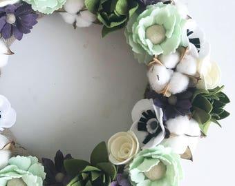 Poppy mint felt full wreath