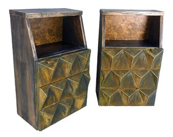 Vintage Mid century Modern Sculptural Diamond Front End Side Tables- a pair
