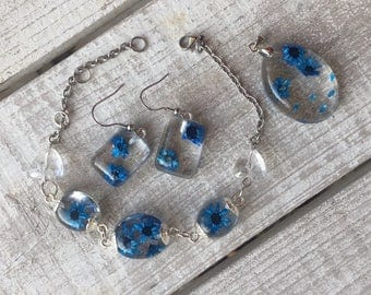 Set Flowers Blue-resin