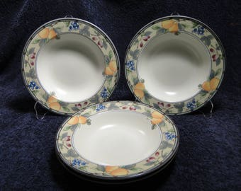 "FOUR Mikasa Garden Harvest Soup Bowls Pasta 9 1/2"" CAC29 Set of 4 EXCELLENT!"