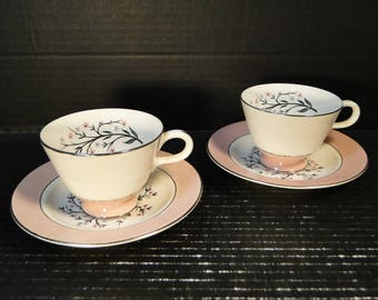 TWO Homer Laughlin Cavalier Springtime Footed Tea Cup Saucer Sets CV32 Pink 2 EXCELLENT!
