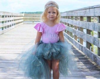 Shimmer Gray Hi Low Tutu Skirt, Girls Tutu Skirt, Tutu Skirt, Girls Tutu, High Low Tutu Skirt, Photo Prop Tutu, Birthday Tutu Skirt, Wedding