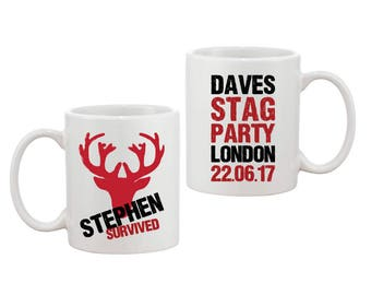 Personalised Groom Stag Do Party 'Survived' Mug Gift - FREE UK SHIPPING