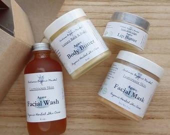 Organic Agave Nectar Skin Care Gift Set, Vegan Beauty Box, Natural Skin Care Gift Set, Gift for Her, Natural Skin Care, Blue Agave