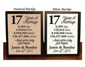 17th Wedding Anniversary | 17 Year Wedding Anniversary | 17th Wedding Anniversary Gift | 17 Years Together |  Best Wedding Anniversary Gift