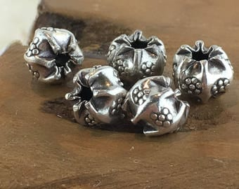 Thai Hill Tribe Silver Flower Stamped Pinched Bead