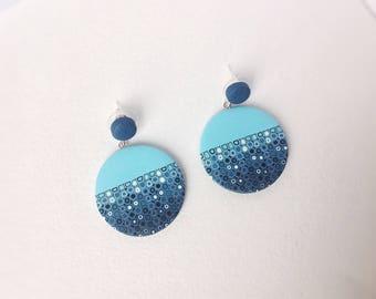 Polymer Clay Earrings / Statement Earrings / Geometric Earrings / Gifts for Her / Dangle Drop Earrings / Everyday earrings / Turquose