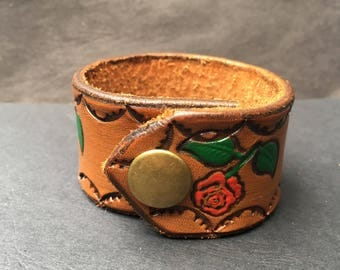 Brown Leather Snap Bracelet from Repurposed Leather with floral Pattern for Small Wrists