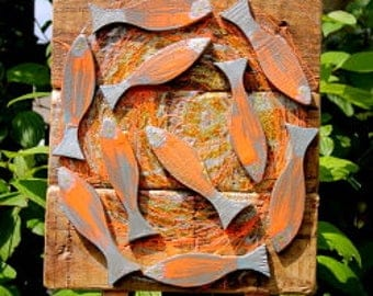 Driftwood hand-painted fish swirl wall art