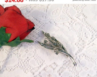 Eclipse Sale Rhodium Plated Brooch or Pin with Marcasite For Added Bling Floral Design Lily of the Valley Great Gift For Her