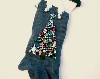 Knit Christmas Stocking Personalized Blue
