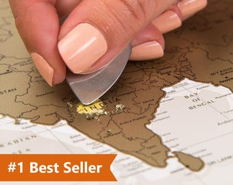 """Push Pin Travel Map – Scratchable Off World Map Wall Poster with Push Pins 34.6"""" x 23.6"""""""