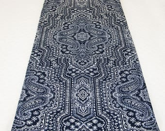 Indigo Table Runner, Navy and White Table Runner in Vintage Finds Print