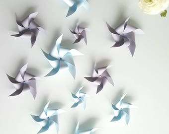 10 pinwheels - choice of colors - baptism table decoration - wedding