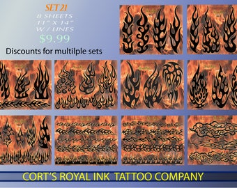 Tattoo Flash  SET 21    10 pages of Flames Tattoo Flash Laser Printed w/outlines
