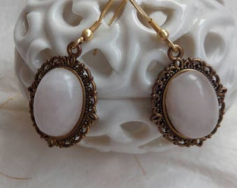Vintage earrings with Rose Quartz stone