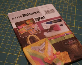 Fat Quarter Sewing Accessories: Pin Cushion, Scissor Case, Tote, Sewing Machine Catchall & Organizer- Butterick 4476 NIP (out of print)