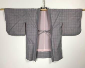 D903 Vintage Japanese Haori Kimono Womens Wool Cardigan Jacket Gray Checked