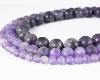 6mm/8mm/10mm Matte Dogtooth Amethyst, 8mm Matte Purple Amethyst, 8mm Matte Amethyst,Frosted Dogtooth Amethyst Beads, 8mm Matte Purple Beads,