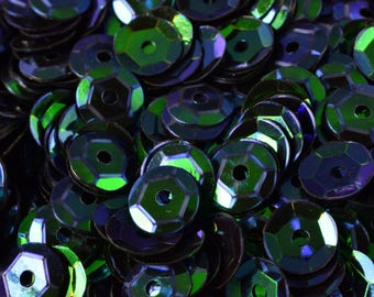 3/4/6mm Dark Blue Green Cup Glossy Iridescent Sequins Sheen Round Sequins/Loose Paillettes,Wholesale Sequins,Shimmering Sequin Apparel