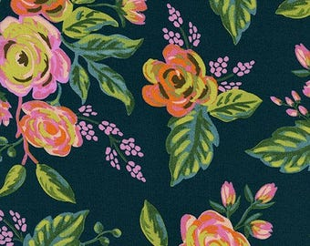 Jardin De Paris Navy RAYON from Menagerie by Anna Bond of Rifle Paper Co for Cotton + Steel - 1/2 Yard