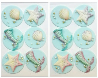 12 x mermaid inspired fondant Cupcake toppers