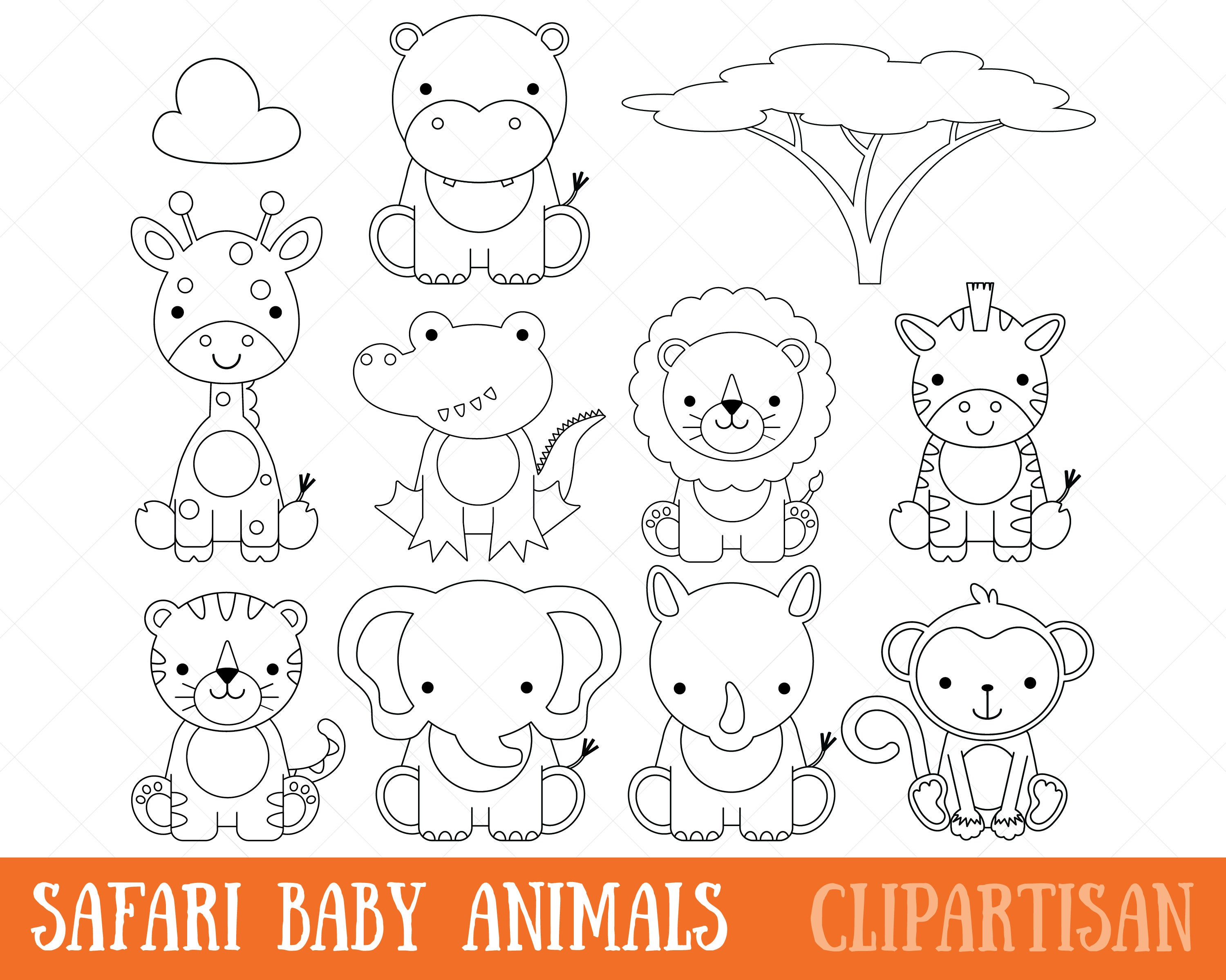 Safari Baby Animals Clipart / Digital Stamps / Coloring Page