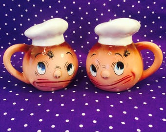 PY Ucagco Anthropomorphic Fly in My Eye Chef Salt and Pepper Shakers made in Japan circa 1950s