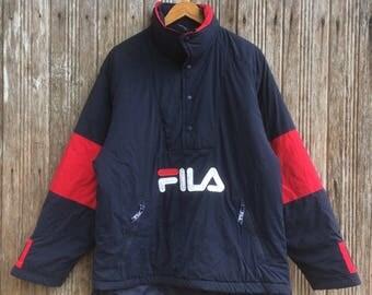 Rare!! Vintage Fila Big Logo Half zipper embroidery Logo sweater jacket Colourblock Style large size
