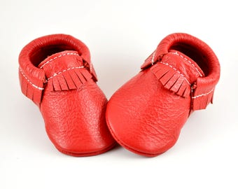 ON SALE! Classic Red Baby Moccasins Handmade Moccs Genuine Leather Soft Soled Shoes Infants Toddlers Boys Girls Prewalker Booties