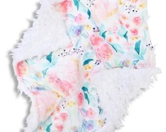 Lydia's Floral Minky Baby Girl Lovey | Watercolor Flower Security Blanket | Mini Baby Blanket | Faux Fur Lovie
