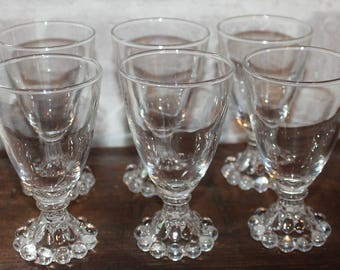 Berwick, Boopie Bubble glasses 4 ounce juice / wine by Anchor Hocking,  small clear glass set lot, Made for Fire King Bubble line.