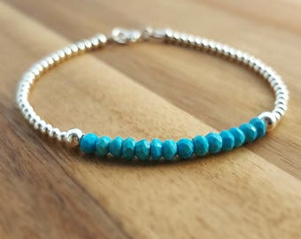 Turquoise Bracelet, Turquoise and Silver Bracelet, Turquoise Jewelry, Turquoise Jewellery, Gemstone Bracelet, Turquoise Silver, Turquoise