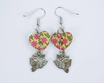 Earrings Owl and heart hearts with flowers on silvery earrings wooden pendant earrings Oktoberfest Jewelry Valentine's Day owl Pink