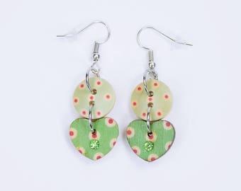 Earrings Heart light green with dots in red on silvery earrings wooden pendant earrings oktoberfest jewelry red Boho Green Green
