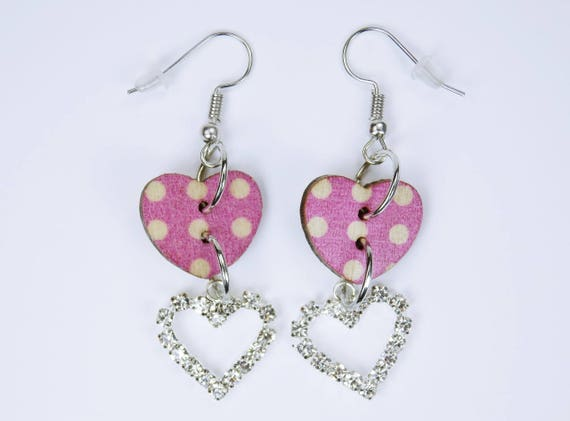 Earrings heart pink with dots and rhinestones stone heart silver pendant earrings wood Oktoberfest dirndl Jewelry Valentine's Day Dirndl jewelry