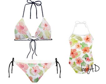Duo matching swimsuit - mom and me- Model: Flowers, flowery - matching swimwear - mother and daughter set for child and baby - bikini (2 )