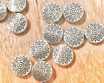 10mm Round silver beads for jewelry making Tibetan style with a star design, star beads, jewelry making, silver beads pack of 10 beads
