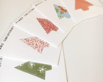 Christmas Cards - Set of 5 - Christmas Tree Card - Mery Christmas - Xmas Card - 5 Pack Cards