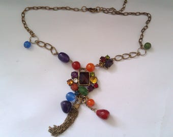 metal necklace with plastic beads
