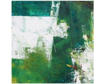 Greens White small square abstract mid century modern home decor oil painting Atomic Ranch ready to hang contemporary 12 x 12 MCM