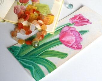 watercolor painting fuchia flower Tulip-original unique artwork @méka drepth