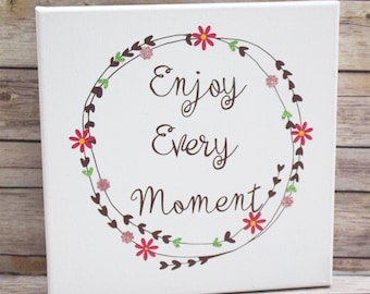 Spring Wall Decor, Entry Wall Hanging, Enjoy Every Moment Canvas, Laurel Wreath
