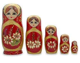 "6.5"" Set of 5 White Flowers on Red Russian Nesting Dolls"